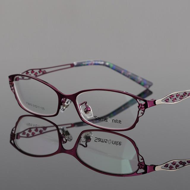 Señora titanium de la aleación marco hipermetropía astigmatismo ojo miope gafas de fotograma completo marco de la mujer gafas de fondo f 3015