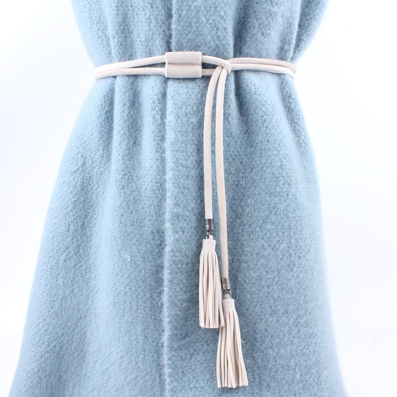 Solid Women Tassel Belts For Ladies Knot Waist Rope Fringed Waistband Girdle For Dress Female String Femee Black