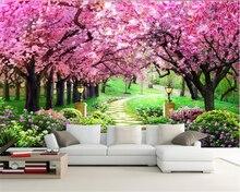 Купить с кэшбэком Beibehang 3D Wallpaper Sakura Grove Wooden Garden Path Landscape Painting Living Room Bedroom TV Background Wall papel de parede