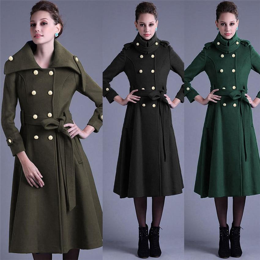 Long Female Jacket Overcoat Cloak Windbreaker Winter  Adjustable Waist Wool Coat Women Autumn Manteau Femme Hiver Cape Warm-in Wool & Blends from Women's Clothing    1