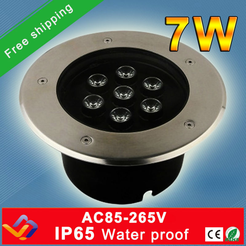 Free Shipping 10pcs Lot 7 1W LED Underground Light Lamp Buried Recessed Floor Lamps Floor Uplighter