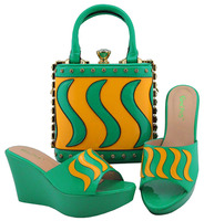 Latest Italian Ladies Party Shoes And Bag Set African Decorated With Rhinestone Slipper Shoes And Bags To Match Set MD005
