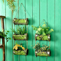 WCIC Simulation Wood Flower Planter Flora Baskets Multi Layers Hanging Wall Wedding Home Pastoral Decoration Metope