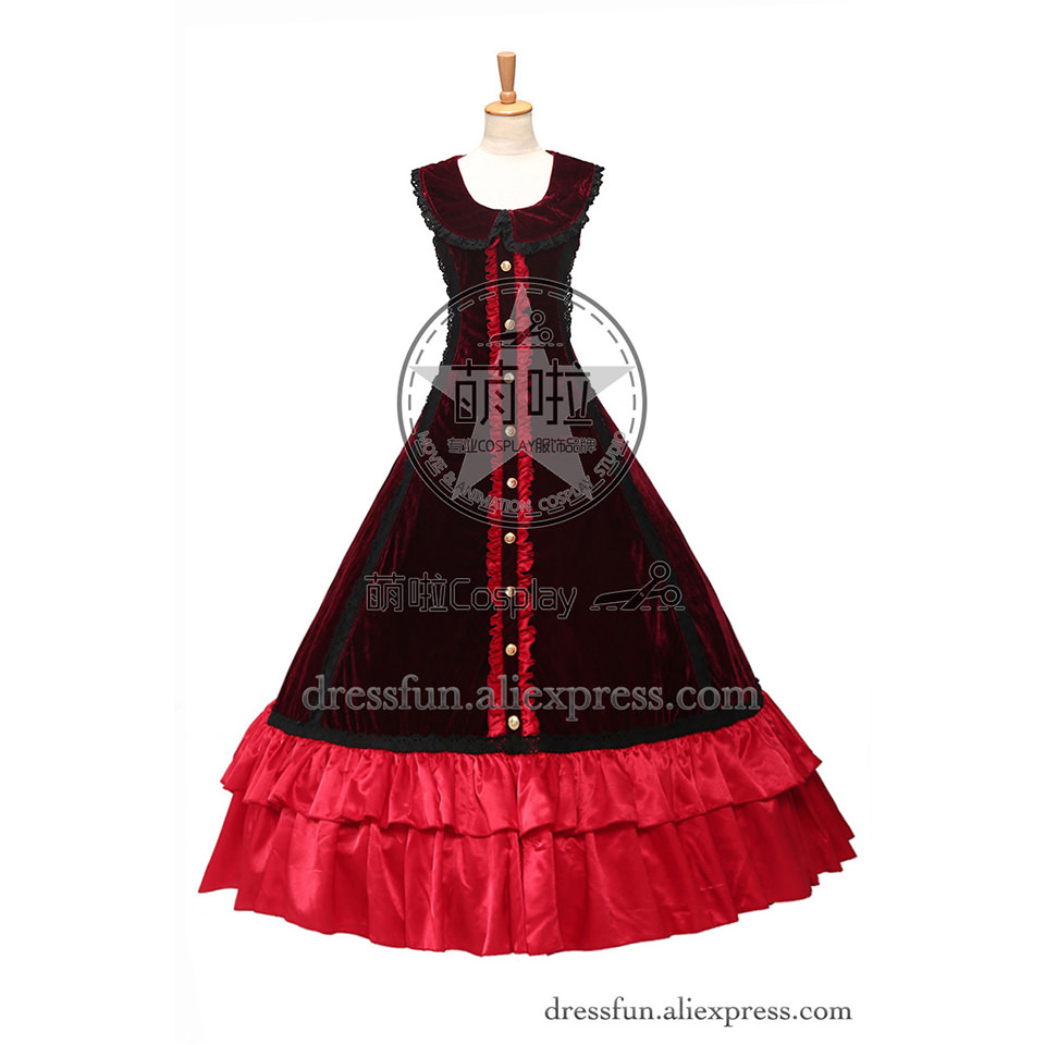 Vintage Gothic Victorian Ball Gown Prom Black Red Lolita Dress Covered with a layer of Black Gauze beautiful for Halloween Party