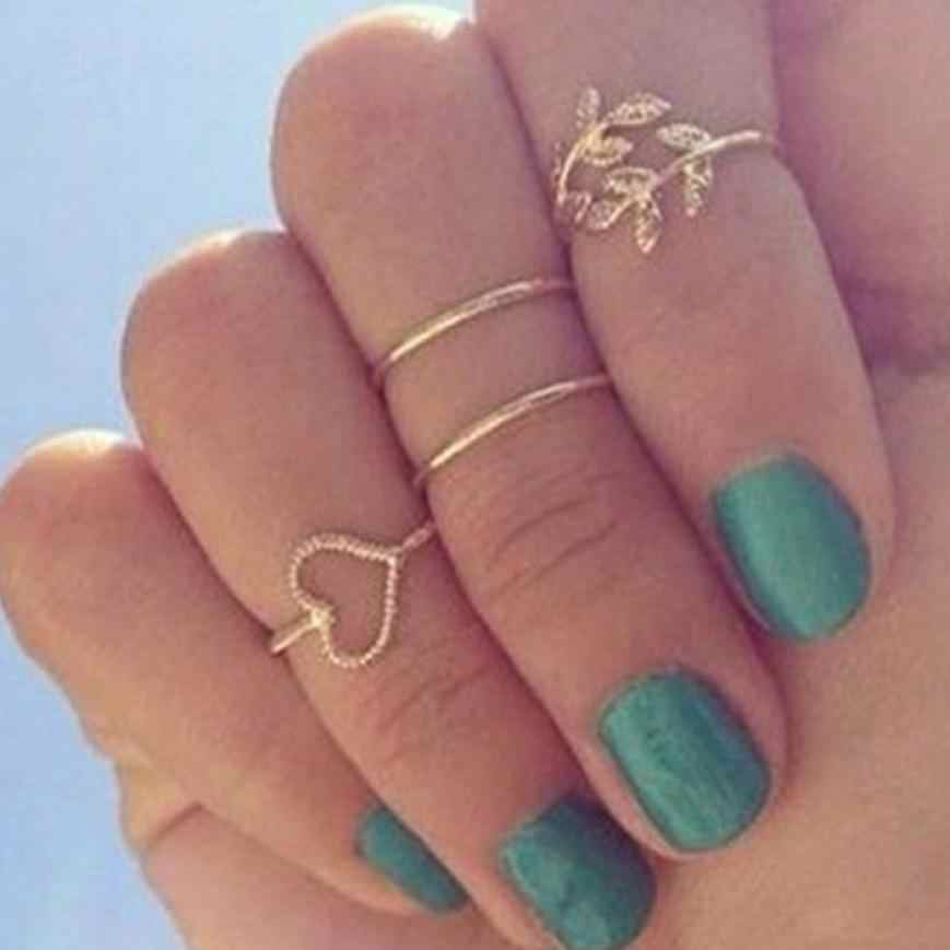 Fashion Gold Rings Plated Leaf Heart Joint Knuckle Nail Ring Set of Four Rings Valentine's Gift Jewelries Aneis Flawless Rings