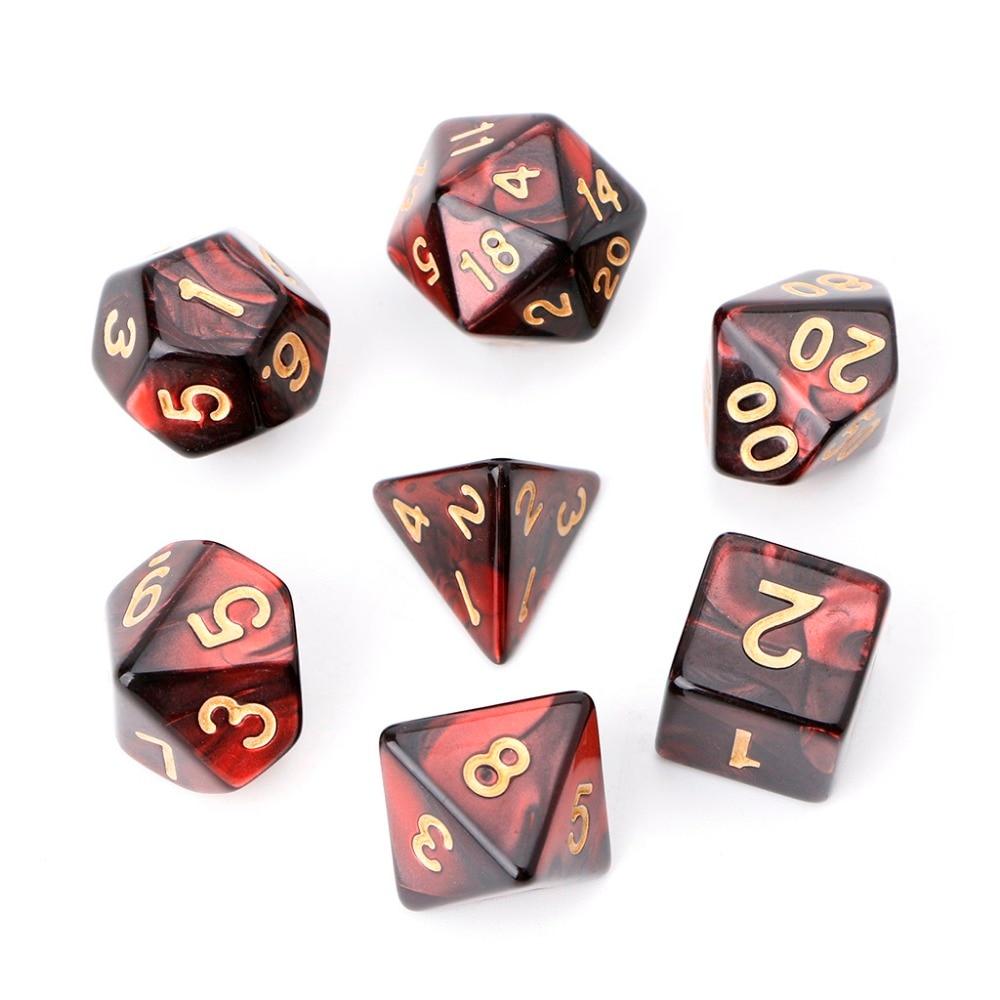 7 шт./компл., акриловые многогранные кости для настольных игр TRPG, Dungeons And Dragons
