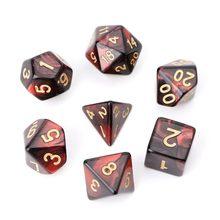 7 pçs/set dados poliédricos acrílicos para jogos de tabuleiro trpg dungeons e dragons D4-D20