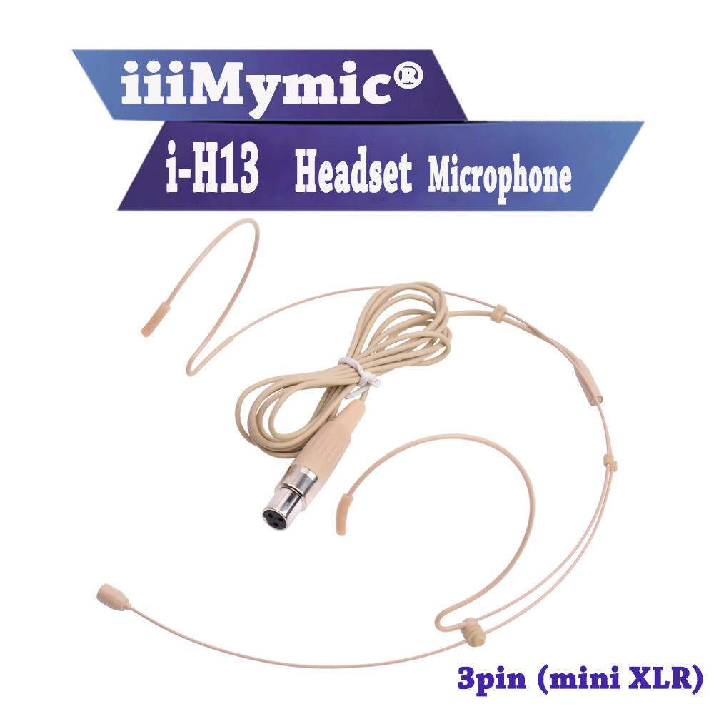 iiiMymic i-H13 ! 3pin mini XLR 3pin TA3F Connector Pro Headworn Headset Microphone for AKG Samson Wireless Body-Pack Transmitter все цены