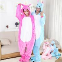 New Adult Unisex Flannel Hoodie Pony Unicorn Pajamas Halloween Costume Cosplay Animal Onesie Sleepwear