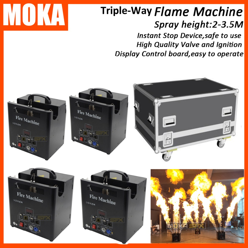 4 Pcs/lot Stage Triple Way Flame machine with flight case dmx fire machine stage effect flame thrower with lcd display4 Pcs/lot Stage Triple Way Flame machine with flight case dmx fire machine stage effect flame thrower with lcd display