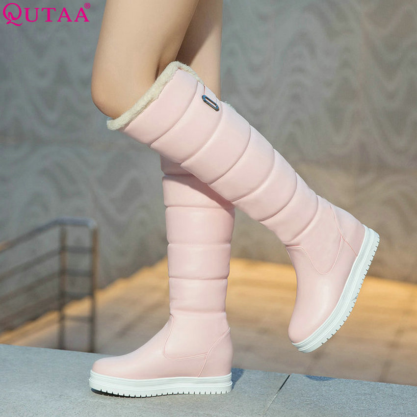 QUTAA 2020 Pu Leather Women Over The Knee High Boots Fashion Slip on Wedges Heel Fashion Winter Boots Women Boots Big Size 34-43