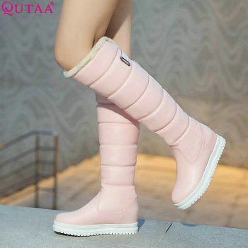 QUTAA 2020 Pu Leather Women Over The Knee High Boots Fashion Slip on Wedges Heel Winter Big Size 34-43 - discount item  47% OFF Women's Shoes