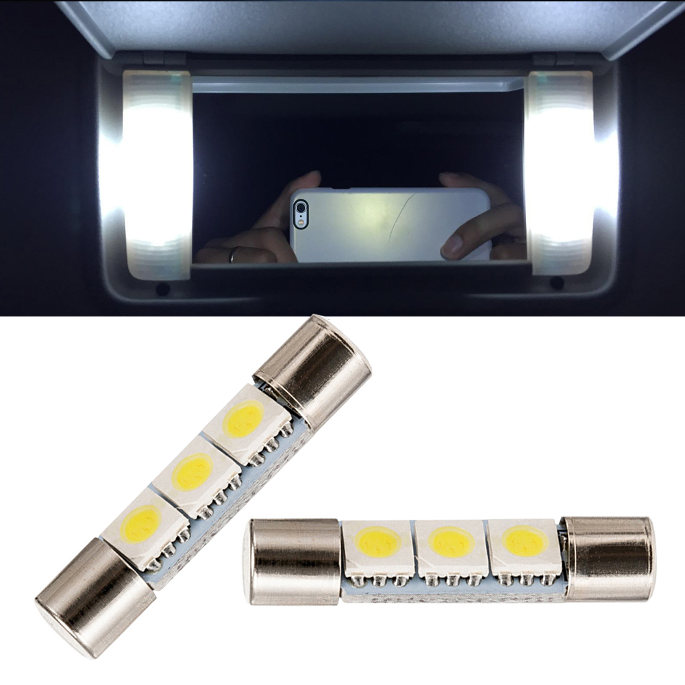 2pcs White 5050 3-SMD 29mm 6614F LED Festoon Bulbs For Car Sun Visor Vanity Mirror Light ...