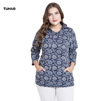 TUHAO Turn Down Collar Blouse Print Chinese Style Vintage Women S Blouses Plus Size 5XL Pockets