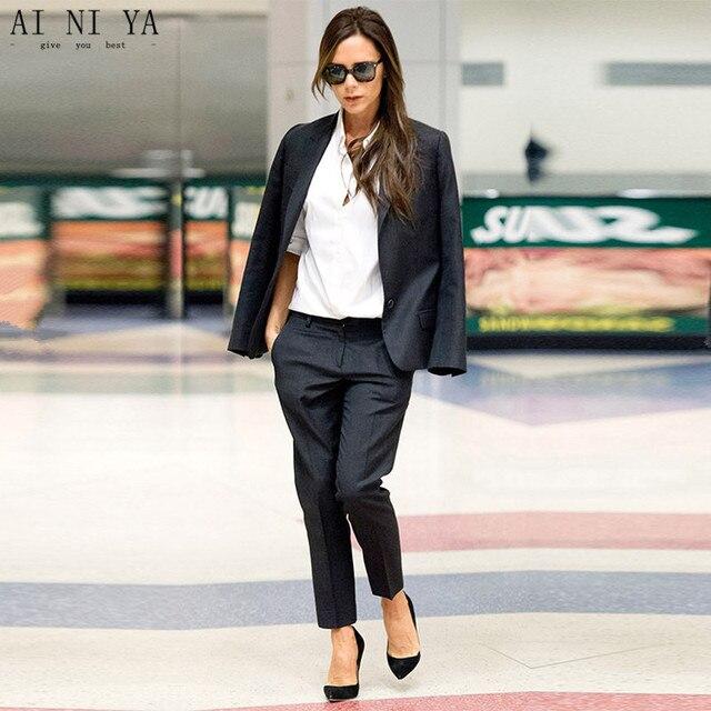 62d80609438 Black Womens Business Suits Female Office Uniform Ladies Trouser Suits  Design Evening Tuxedo 2 Piece Set Women Trouser Suit