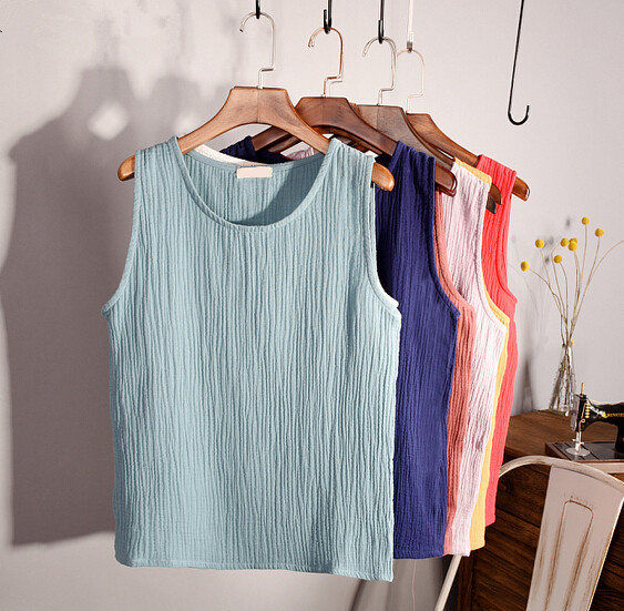 New 2019 Summer women black red blue pink cotton linen vest,cotton   tanks     tops  ,plus size women clothing vestidos S- 4xl 5XL 6XL