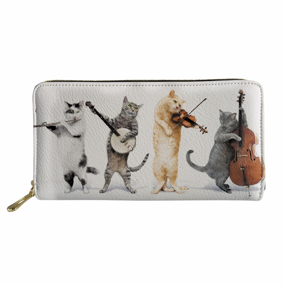 NOISYDESIGNS Kawaii Cartoon Cat Music Note Pateern Zipper Wallet Multifunction Long PU Leather Female Card Bag Purse