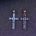 Natural blue sapphire pendant S925 silver Natural gemstone Pendant Necklace trendy Elegant Luxury cross women girl party jewelry