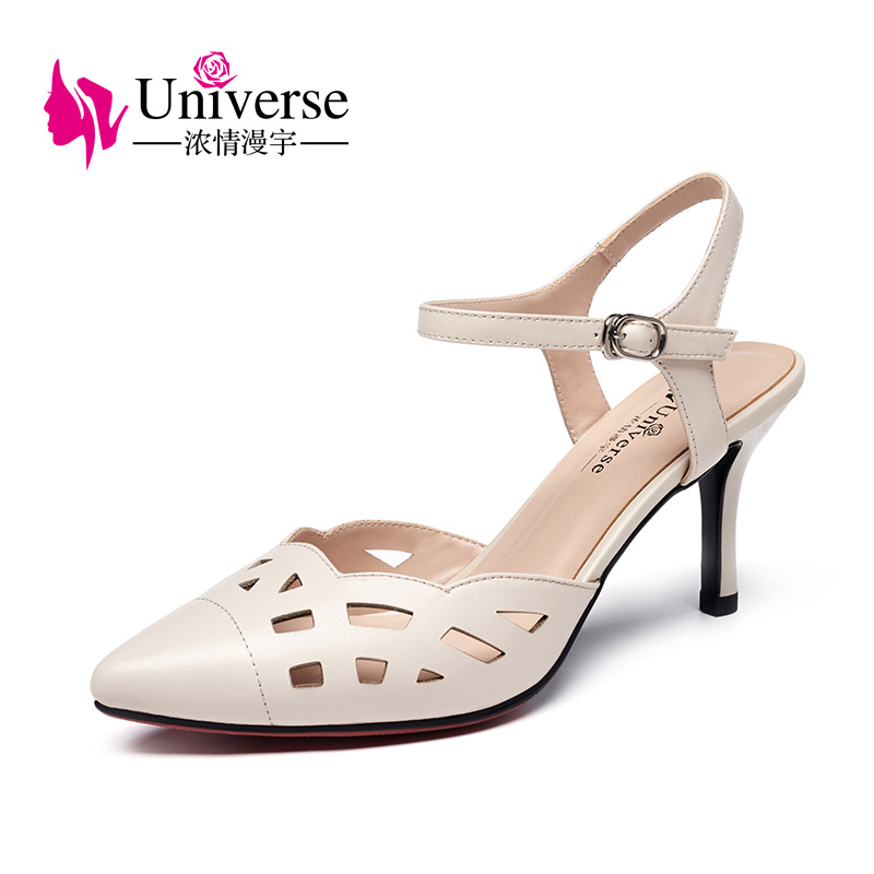 Universe Elegant Woman Summer Sandals Genuine Leather High Thin Heel Pointed Toe Hollow Out Style Women Shoes Sandals 2019 G170