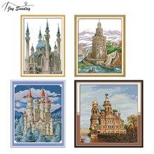 Joy Sunday Blue Castle Cross Stitch Landscape Patterns Aida Fabric DMC Printed Canvas Embroidery Kit Stitching Needles Set