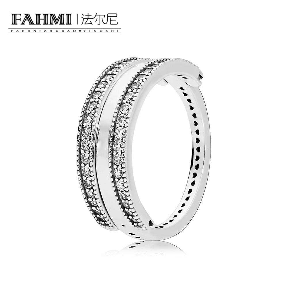 FAHMI 100% 925 Sterling Silver New Romantic Flipping Hearts of 197404CZ Ring Clear CZ Original Jewelry Womens Holiday GiftFAHMI 100% 925 Sterling Silver New Romantic Flipping Hearts of 197404CZ Ring Clear CZ Original Jewelry Womens Holiday Gift