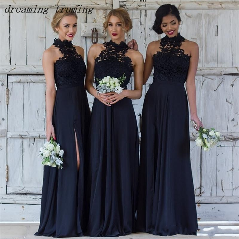 vestido de madrinha Navy Blue   Bridesmaid     Dresses   2019 High Neck Lace And Chiffon A Line Maid Of Honor   Dresses   For Weddings