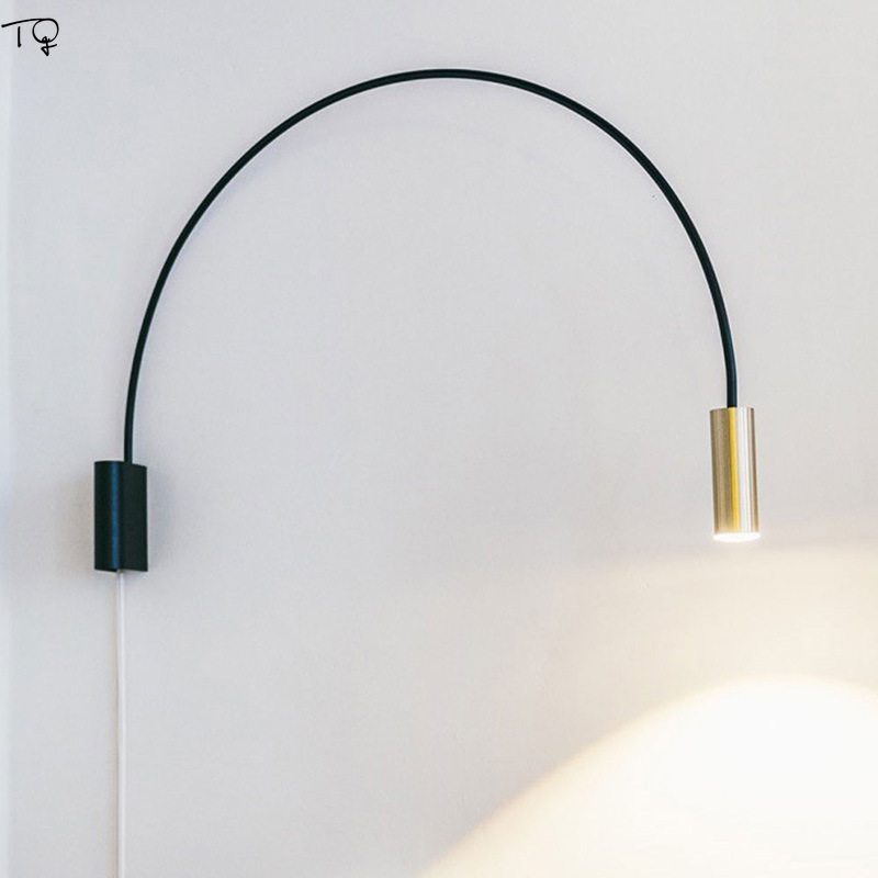 Nordic Simple Flexible Rotating Adjustable Gold Led Wall Lamp Study Reading Bedside Bedroom Living Room Single Head Wall Sconce