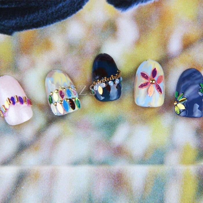 1set /lot 12 Color japanese leaf design nail art horse eye sequins ...
