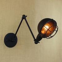 Black metal Long arm small wall lamp light for led 110v 220v vintage loft industrial america indoor wall sconces for home