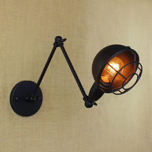 Black metal Long arm small wall lamp light for led 110v 220v vintage loft industrial america indoor wall sconces for home(China)