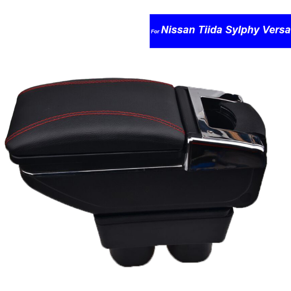 For Nissan Versa Tiida Sylphy Armrests with USB Plastic and PU Leather Car Center Console Armrest Storage Box Free Shipping universal leather car armrest central store content storage box with cup holder center console armrests free shipping