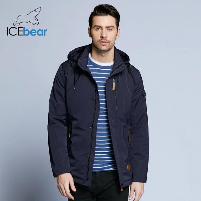 ICEbear 2019 Cep Fermuarlı Tasarım Erkekler Ceket Bahar Yeni Varış Rahat Moda Parka Katı Ince Pamuk Ceket 17MC010D