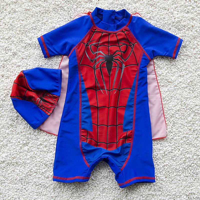 f60bdb7d66 Kids Cartoon Spiderman Swimsuit Boys One Pieces Swimwear With Cap Children  Bathing Suit Kids Boy Swimming
