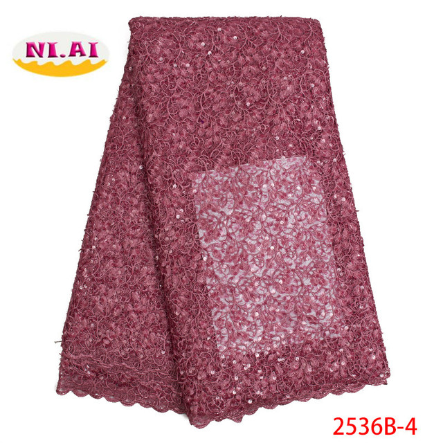 Latest French Nigerian Laces Fabric 2019 High Quality Tulle African Laces Fabric Wedding African French Tulle Lace XY2536B-7 1