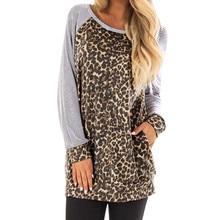 4d296b2ab Srogem Top Women Clothes Leopard Print Long Sleeve T Shirt Harajuku  Camiseta Feminina Befree Poleras De