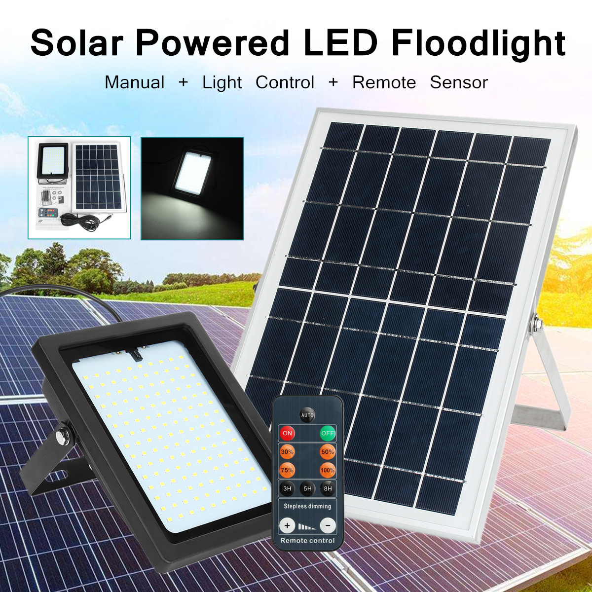 150LED 6V 10W Solar Security Light Sensor Spotlight Floodlight Wall Lamp Outdoor Garden White Light Energy Saving Eco-friendly