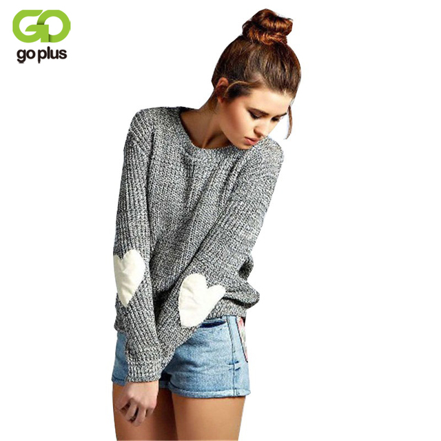 GOPLUS Fashion Love Hearts Gray Knitwear Pullover Ladies Sweater Knitted Crochet Pullover Long Sleeve Female Sweaters Sweaters
