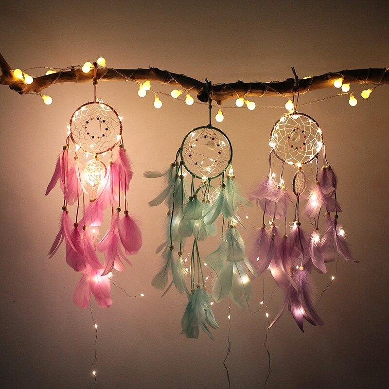 Xsky Dream Catcher Dreamcatcher 2M 20LED Holiday Lighting Girl Bedroom Bell Romantic Hanging Decoration Fairy Strings Light Lamp