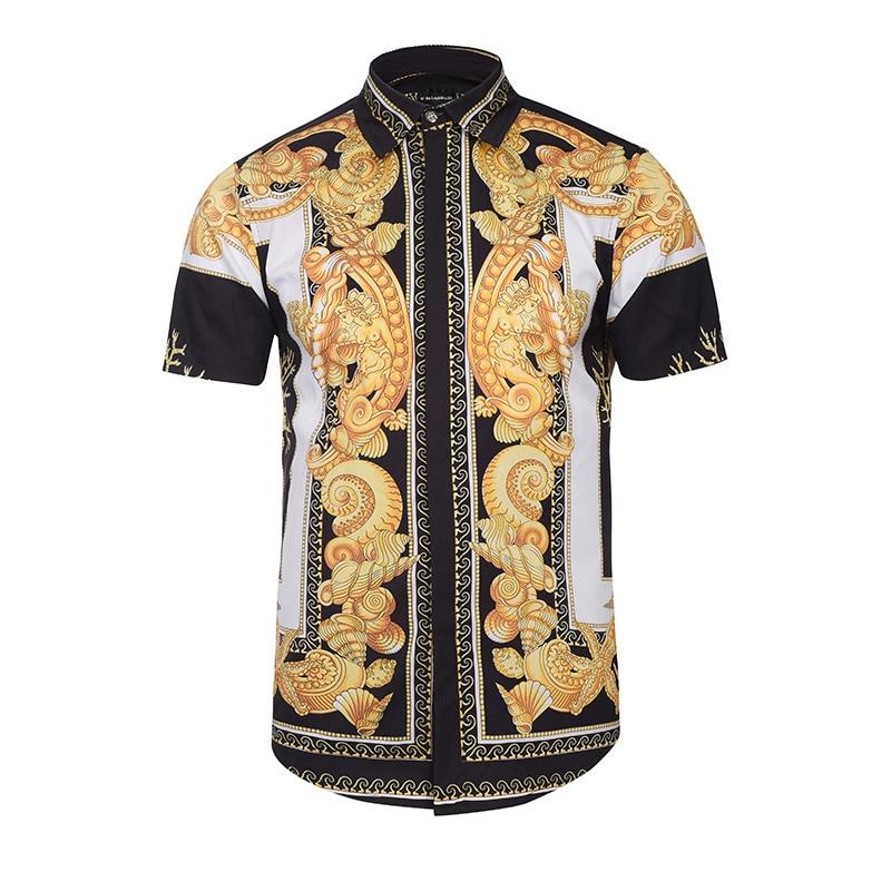 Hawaiian Shirts Summer Style Men Short Sleeve Floral Dress Shirts Unique Medusa Shirt Fashion 3D Print Luxury Harajuku Hipster Рубашка