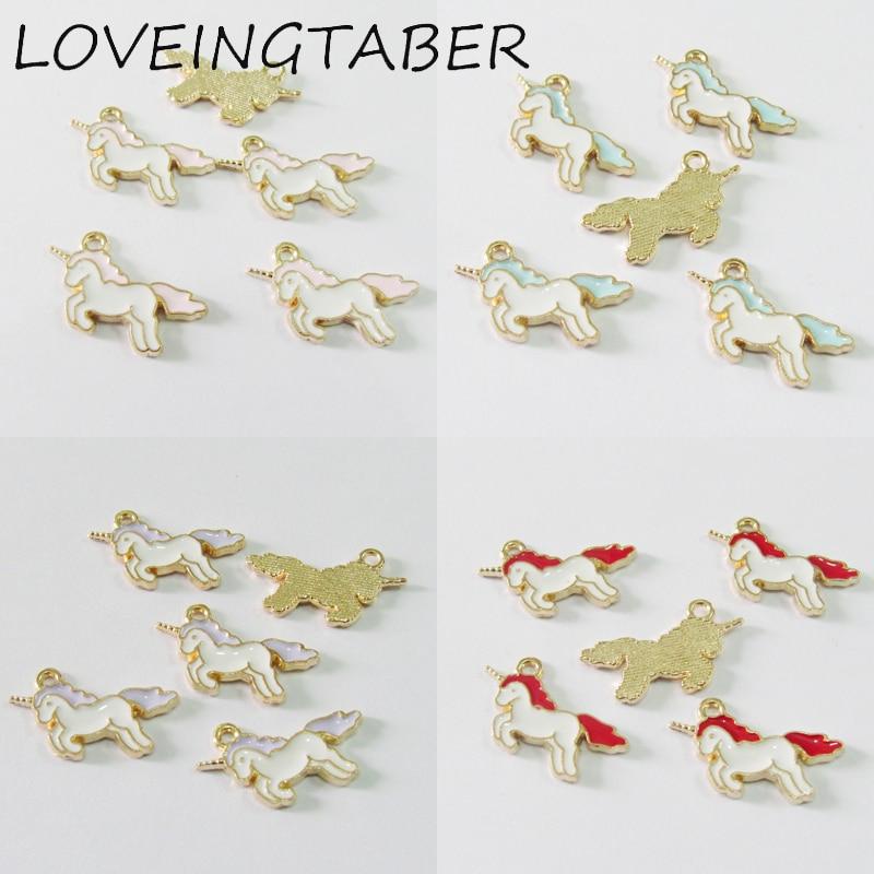 Wholesale 20mm*11mm 30pcs/bag Full Enamel Small Alloy Unicorn Charms For DIY Bracelet Necklace Jewlery Making