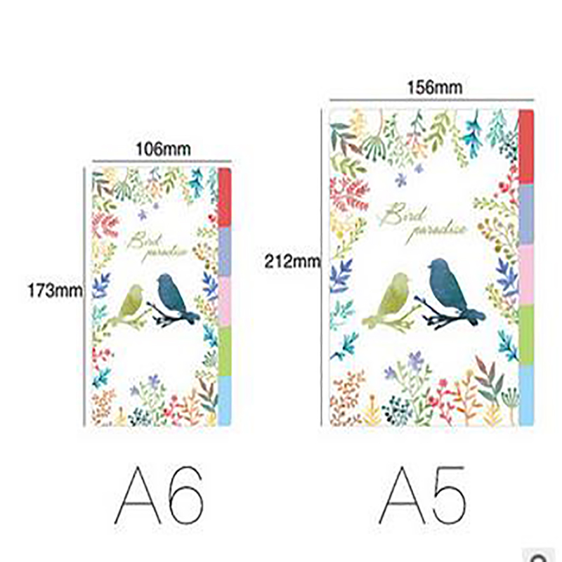 Bird garden PP board Index Divider for DIY notebook planner diary 5 sheets refills loose leaf spiral binder accessories coloful binder inner page notebook loose leaf papery separator index paper separation divider page 5 sheets matching filofax kikkik