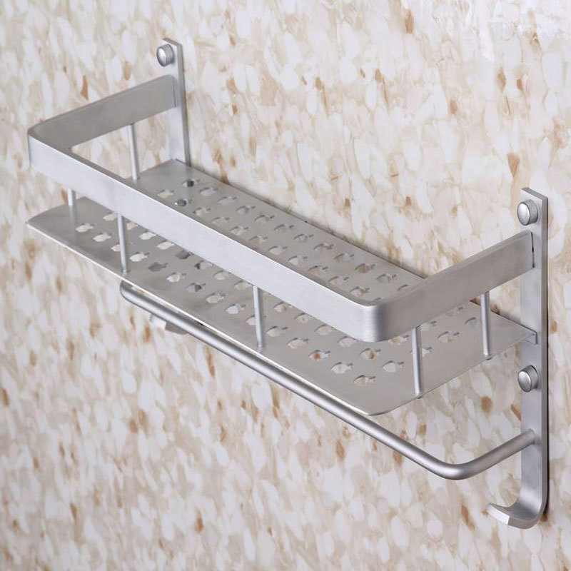 Aluminum 1 Tier 40cm Wall Mounted Bathroom Shelf Washing Shower ...