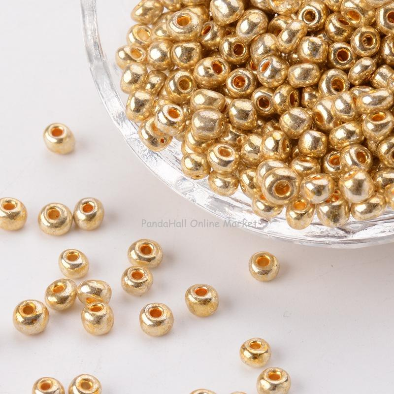 Electroplate Gold Color Glass Seed Beads, Round Hole Rocailles,Size: about 4mm in diameter, 2.5mm thick, hole: 1mm 4mm center hole gold tone alloy 1 2 external threading insert chip