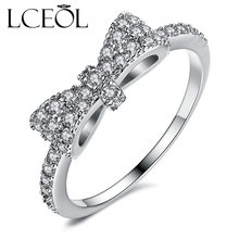 LCEOL Luxurious Unique Ring Minimalist Lovely Cute Bow Knot Rings White And Gold Color Tiny CZ Paved For Women Small Ring