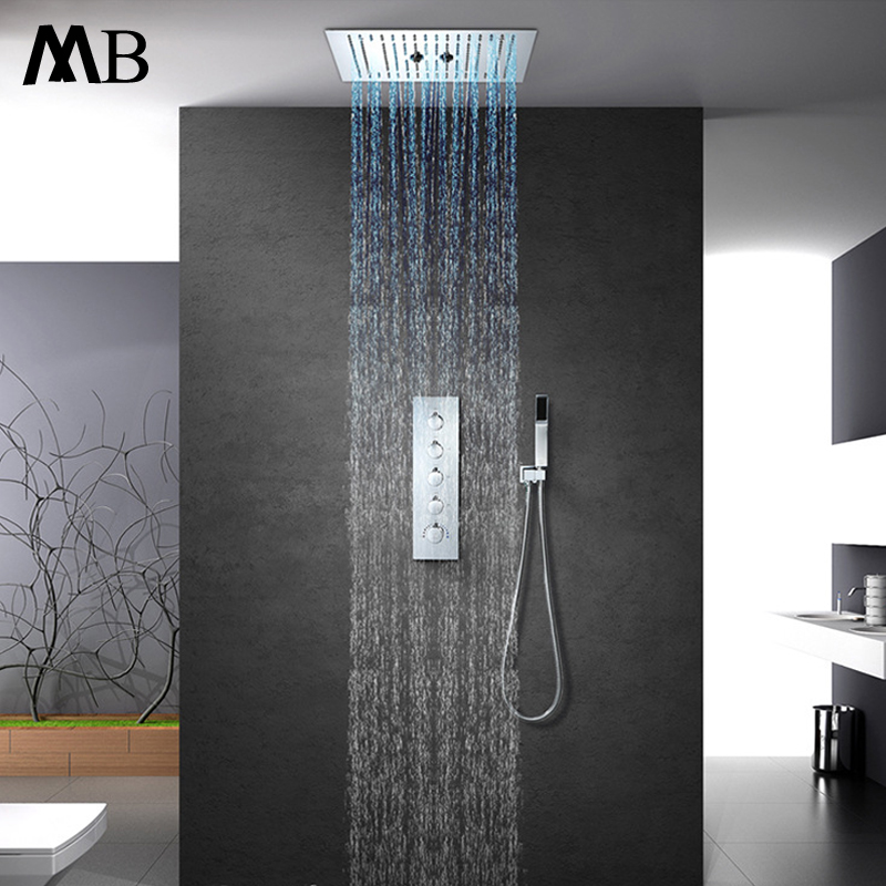 Embedded Ceiling Mounted Misty Shower Faucets Set 16 Inch Rainfall Showerhead Thermostatic Brass Shower Mixer Valve Bathroom