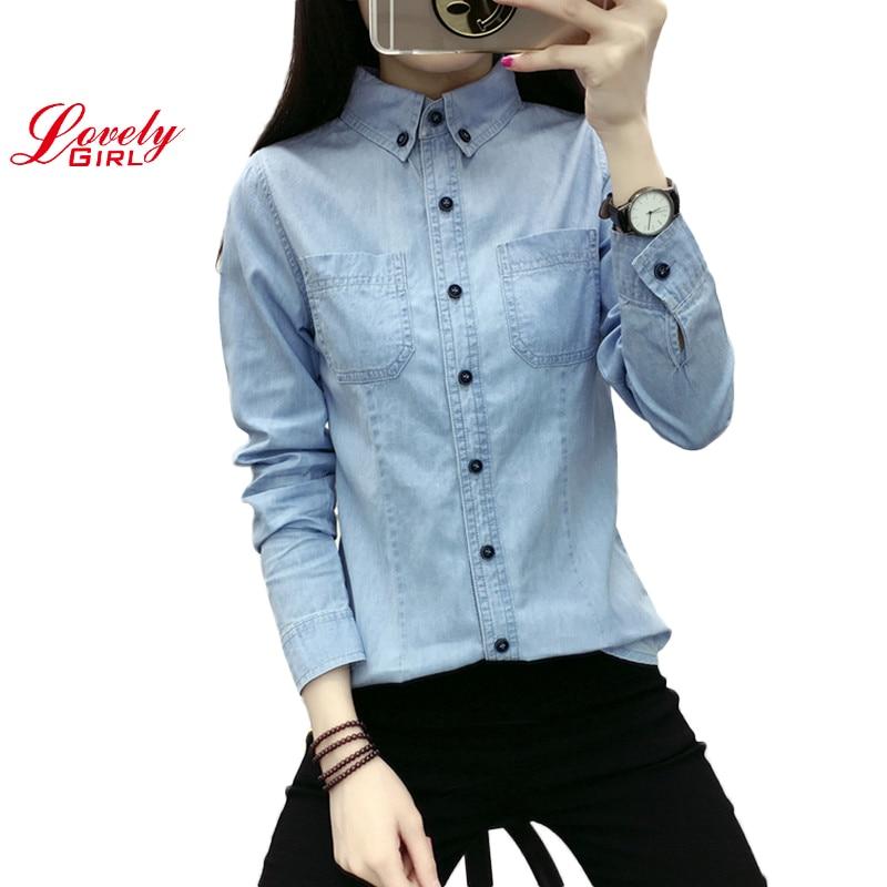 Дамска риза Дамска риза с дълъг ръкав за дамски топове и блузи 2018 Дамски ежедневни дамски облекла Blusa Camisa Jeans Feminina