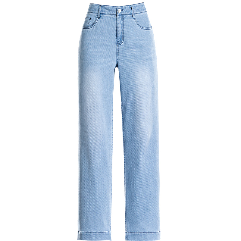 Spring Summer Sky Blue Women Loost Straight Jeans High Waist Bleached Wide Leg Pants 2019 High Quality best Softener Denim in Jeans from Women 39 s Clothing