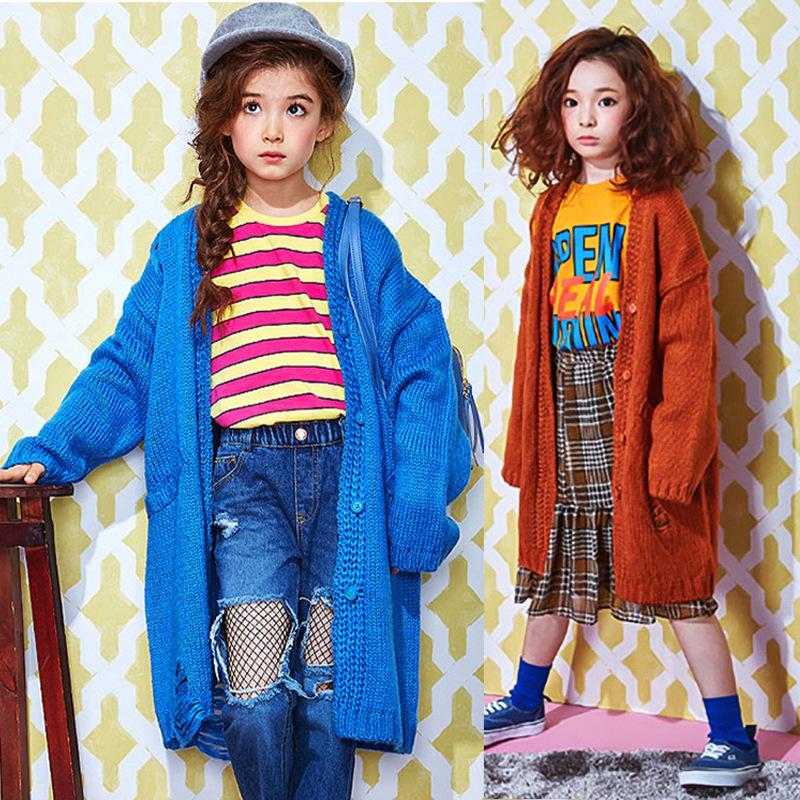 Kids Knitted Sweater Spring Children's Sweater Girl's Long Sweater Kids Cardigan Baby Knitted Coat Girls Hollow Out Sweaters criss cross side slit hollow out sweater