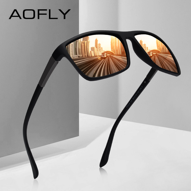 AOFLY BRAND DESIGN Sunglasses Men Driving Male Polarized Sunglasses Vintage Square Frame Eyewear Oculos Gafas UV400 AF8103