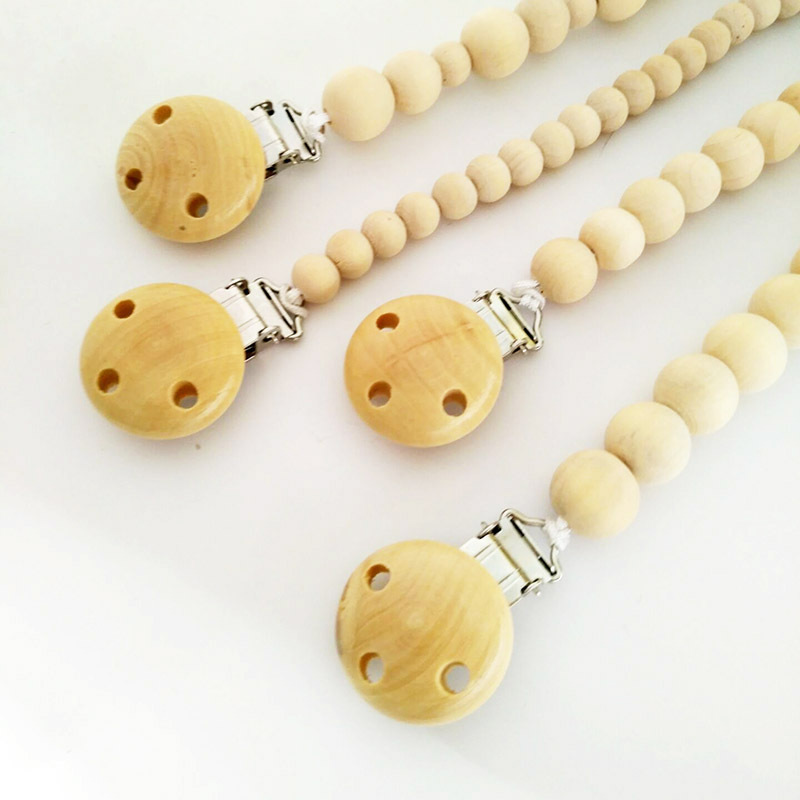 XCQGH Natural Wood Beaded Smykker Clip Dummy Chain Pacifier Chain Nipple Holder For Spedbarn Soother Teether Dummies Clip Holder